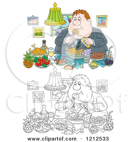 Cartoon of an Outlined and Colored Gluttonous Obese Man Eating a Feast - Royalty Free Vector Clipart by Alex Bannykh