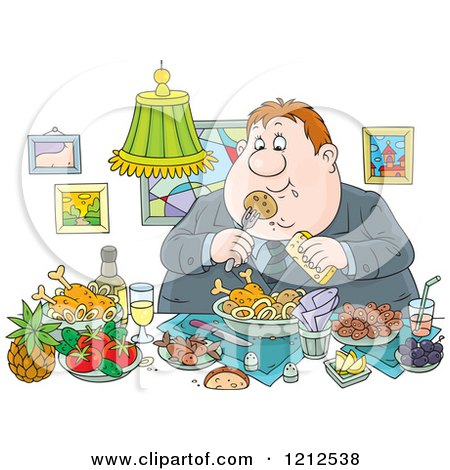 Cartoon of a Gluttonous Obese Man Eating a Feast - Royalty Free Vector Clipart by Alex Bannykh