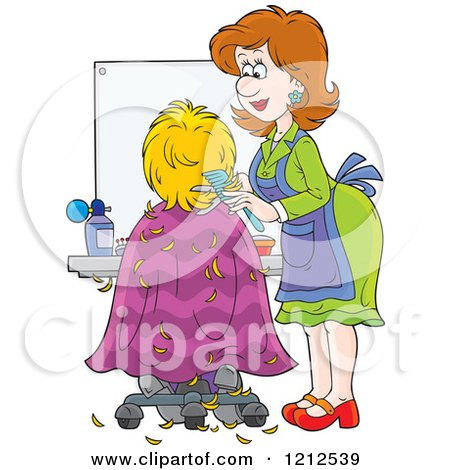 Cartoon of a Female Hairstylist Cutting a Clients Hair - Royalty Free Vector Clipart by Alex Bannykh