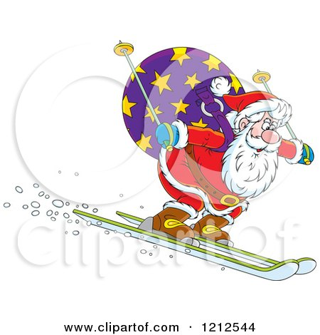 Cartoon of Santa Skiing Downhill with a Sack on His Back - Royalty Free Vector Clipart by Alex Bannykh