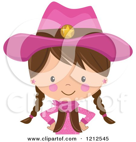 Cartoon of a Brunette White Cowgirl with Braids and a Pink Outfit from the Belly up - Royalty Free Vector Clipart by peachidesigns