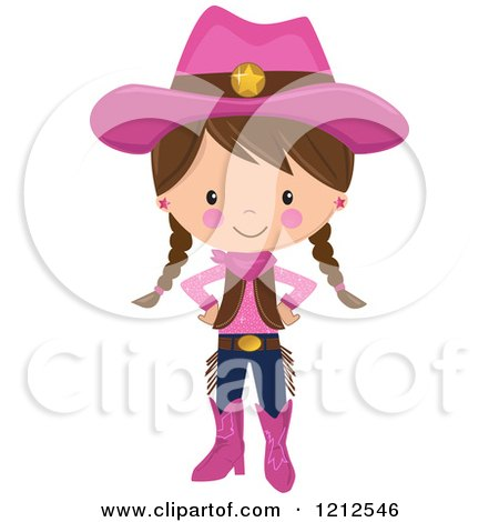Cartoon of a Cute Brunette Cowgirl with Braids and a Pink Outfit - Royalty Free Vector Clipart by peachidesigns