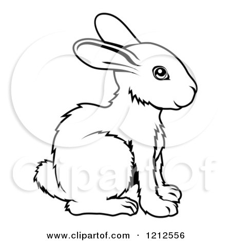 Cartoon of an Outlined Chinese Zodiac Rabbit - Royalty Free Vector Clipart by AtStockIllustration