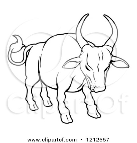 Cartoon of an Outlined Chinese Zodiac Bull - Royalty Free Vector Clipart by AtStockIllustration