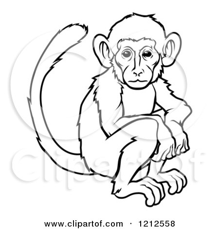 Cartoon of an Outlined Chinese Zodiac Monkey - Royalty Free Vector Clipart by AtStockIllustration