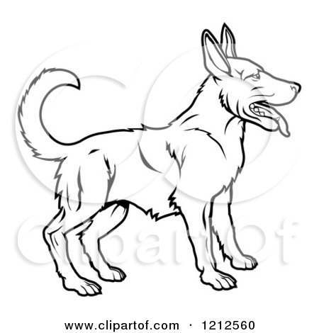 Cartoon of an Outlined Chinese Zodiac Dog - Royalty Free Vector Clipart by AtStockIllustration