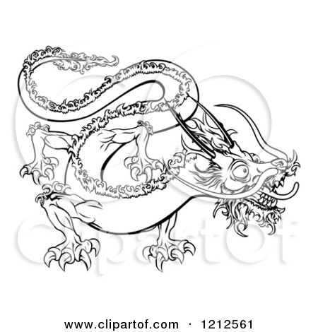 Cartoon of an Outlined Chinese Zodiac Dragon - Royalty Free Vector