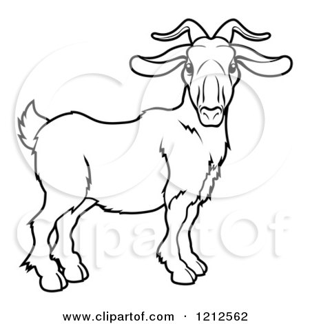 Cartoon of an Outlined Chinese Zodiac Goat - Royalty Free Vector Clipart by AtStockIllustration