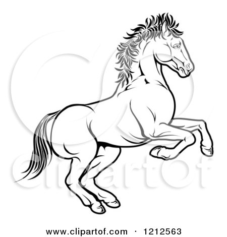 Cartoon of an Outlined Chinese Zodiac Rearing Horse - Royalty Free Vector Clipart by AtStockIllustration