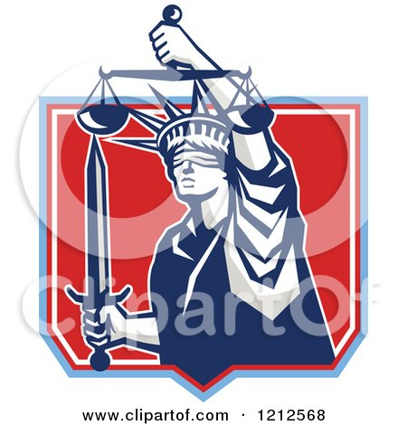 Clipart of a Retro Statue of Liberty Holding Justice Scales and a Sword in a Red Shield - Royalty Free Vector Illustration by patrimonio