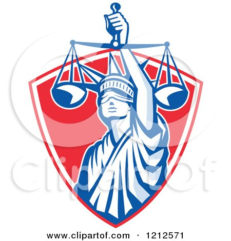 Clipart of a Retro Statue of Liberty Holding Justice Scales in a Red Shield - Royalty Free Vector Illustration by patrimonio
