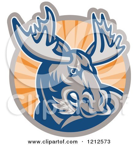 Clipart of a Retro Angry Moose over a Circle of Orange Rays - Royalty Free Vector Illustration by patrimonio