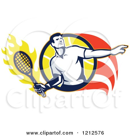 Clipart of a Retro Male Tennis Player in a Flaming Circle - Royalty Free Vector Illustration by patrimonio