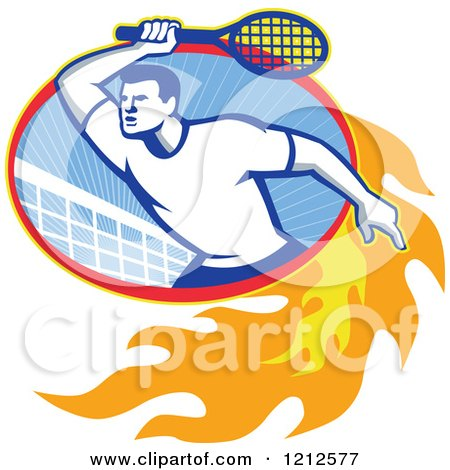 Clipart of a Retro Male Tennis Player in a Flaming Oval with a Net - Royalty Free Vector Illustration by patrimonio