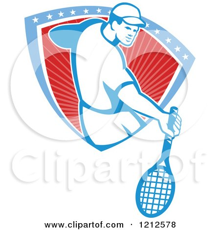 Clipart of a Retro Male Tennis Player Emerging from a Stars and Stripes Shield - Royalty Free Vector Illustration by patrimonio