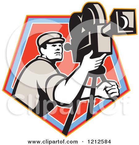 Clipart of a Retro Camera Man Filming over a Blue and Red Crest - Royalty Free Vector Illustration by patrimonio