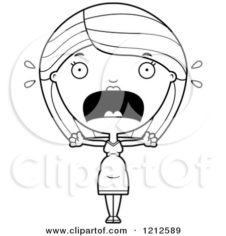 Cartoon Of A Black And White Scared Pregnant Woman Screaming