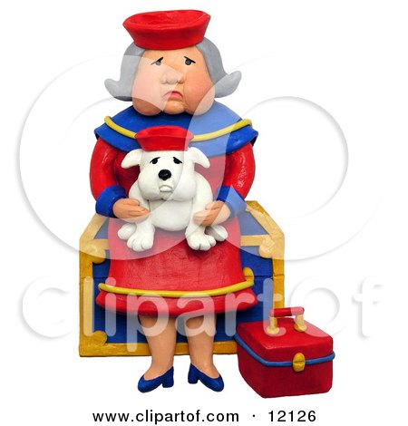 Clay Sculpture Clipart Granny Sitting On A Chest With Her Lookalike Bulldog - Royalty Free 3d Illustration  by Amy Vangsgard