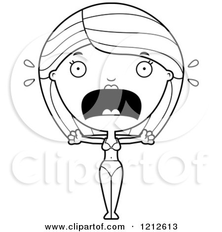 Cartoon of a Black and White Scared Woman in a Bikini Screaming - Royalty Free Vector Clipart by Cory Thoman