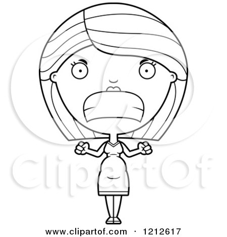 Cartoon of a Black and White Mad Pregnant Woman - Royalty Free Vector Clipart by Cory Thoman