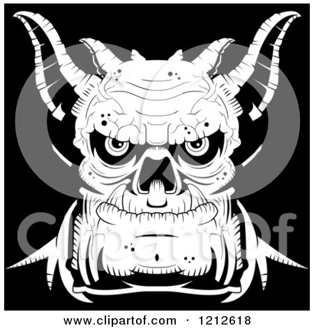 Clipart of a Black and White Evil Demon Face - Royalty Free Vector Illustration by Cory Thoman