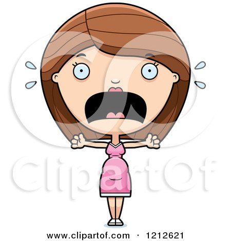 Cartoon of a Scared Pregnant Woman Screaming - Royalty Free Vector Clipart by Cory Thoman