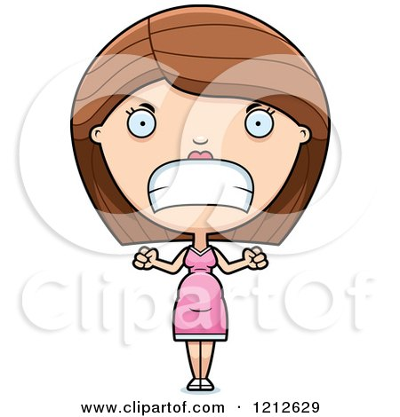 Cartoon of a Mad Pregnant Woman - Royalty Free Vector Clipart by Cory Thoman
