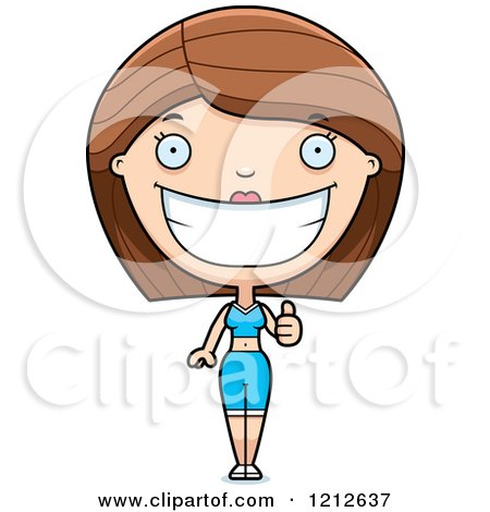 Cartoon of a Fitness Personal Trainer Woman Holding a Thumb up - Royalty Free Vector Clipart by Cory Thoman