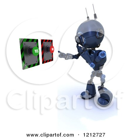 Clipart of a 3d Blue Android Robot Deciding on Yes or No Push Buttons - Royalty Free CGI Illustration by KJ Pargeter