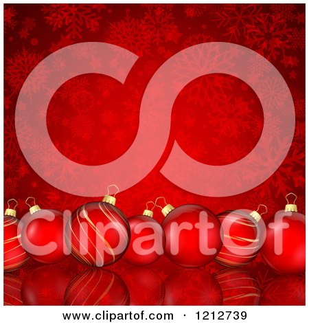 Clipart of a Row of Christmas Baubles over Red Snowflakes - Royalty Free Vector Illustration by KJ Pargeter
