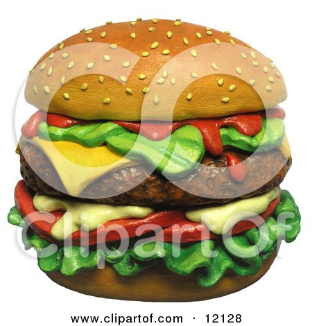 Clay Sculpture Clipart Juicy Cheeseburger With A Sesame Seed Bun - Royalty Free 3d Illustration  by Amy Vangsgard