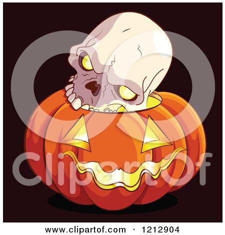 Cartoon of a Human Skull on Top of a Glowing Halloween Jackolantern Pumpkin - Royalty Free Vector Clipart by Pushkin