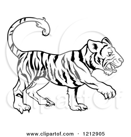 Cartoon of an Outlined Chinese Zodiac Tiger - Royalty Free Vector Clipart by AtStockIllustration