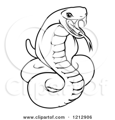 Cartoon of an Outlined Chinese Zodiac Snake - Royalty Free Vector Clipart by AtStockIllustration