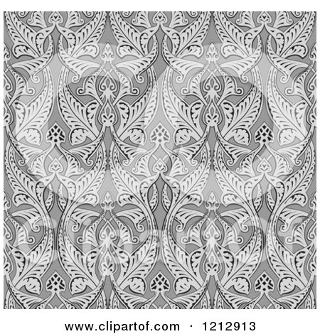 Clipart of a Grayscale Seamless Art Nouveau Pattern - Royalty Free Vector Illustration by AtStockIllustration