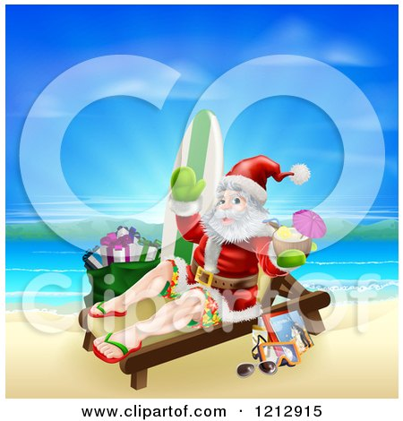 Cartoon of Santa Waving and Holding a Cocktail While Lounging on a Beach with Vacation Items - Royalty Free Vector Clipart by AtStockIllustration
