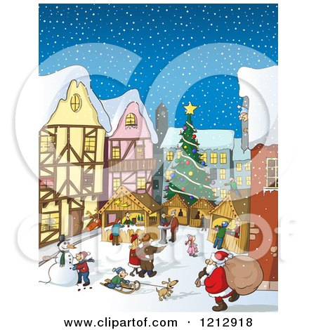 Cartoon of a Bustling Christmas Market with Santa and People in the Snow - Royalty Free Vector Clipart by Holger Bogen