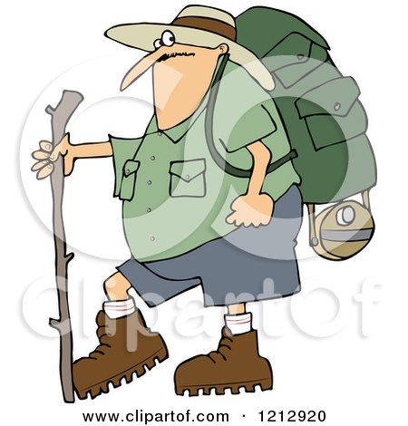 Cartoon of a Chubby Man in Hiking Gear, Holding a Stick - Royalty Free Vector Clipart by djart
