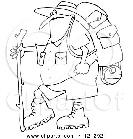 Cartoon of an Outlined Chubby Man in Hiking Gear, Holding a Stick - Royalty Free Vector Clipart by djart