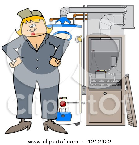 Cartoon of a Female HVAC Worker Standing by a Water Heater and Furnace - Royalty Free Vector Clipart by djart