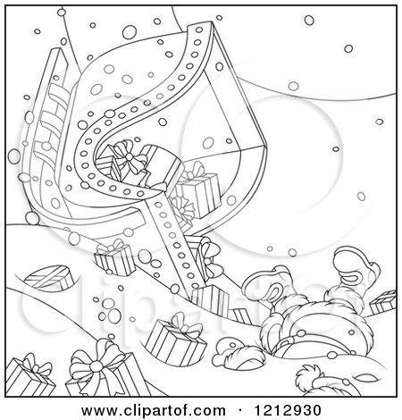 Cartoon Of An Outlined Scene Of Santa Crashing A Sleigh Full Of