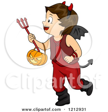 Clipart of a Halloween Boy in a Devil Costume - Royalty Free Vector Illustration by BNP Design Studio