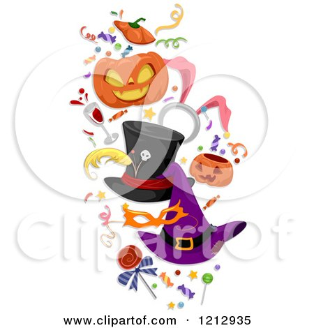 Clipart of Halloween Hats Candy Confetti and Party Items - Royalty Free Vector Illustration by BNP Design Studio