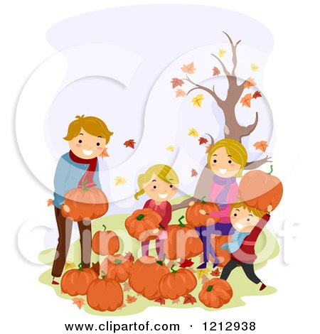 Clipart of a Happy Caucasian Family Picking Pumpkins at a Patch - Royalty Free Vector Illustration by BNP Design Studio