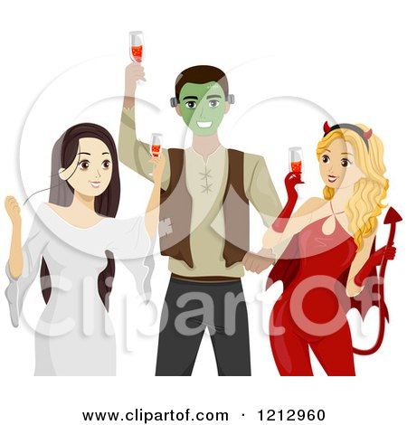 Clipart of Teens Toasting at a Halloween Party - Royalty Free Vector Illustration by BNP Design Studio