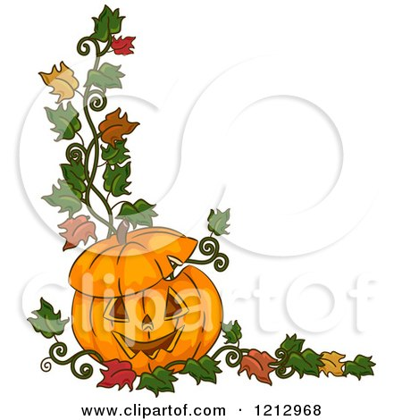 Clipart of a Carved Halloween Jackolantern Pumpkin with Autumn Leaves - Royalty Free Vector Illustration by BNP Design Studio