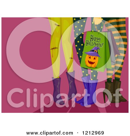 Clipart of Legs of Girls in Halloween Leggings with Shopping Bags - Royalty Free Vector Illustration by BNP Design Studio