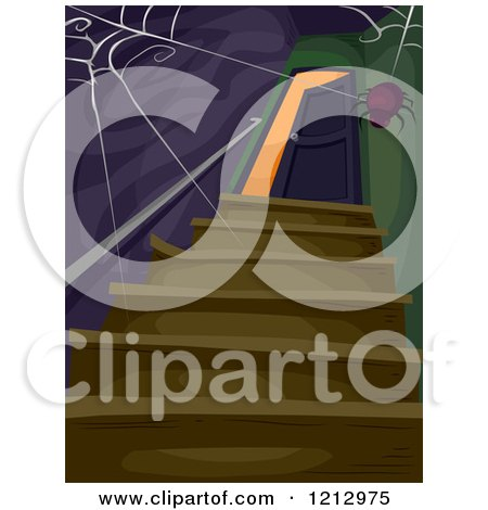 Clipart of a Spider Weaving a Web over a Creepy Staircase and Open Door - Royalty Free Vector Illustration by BNP Design Studio