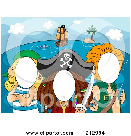 Clipart of Photo Booth Faceless Pirates - Royalty Free Vector Illustration by BNP Design Studio