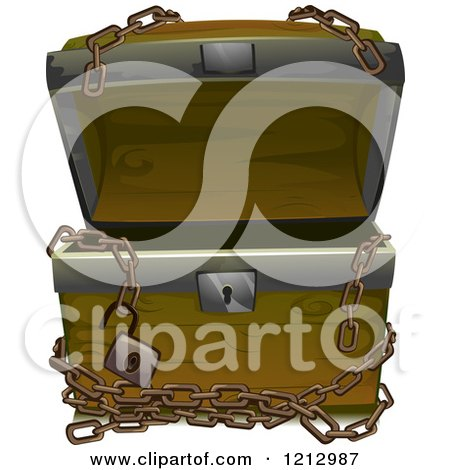 Clipart of an Empty Open Treasure Chest with Chains - Royalty Free Vector Illustration by BNP Design Studio